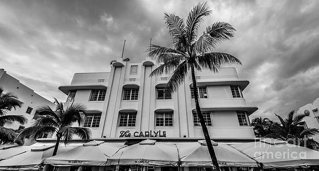 Ian Monk - The Carlyle South Beach Miami Panoramic - Art Deco District - Black and White