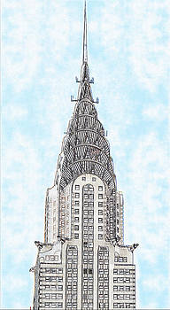 The Chrysler Building in Fractal Clouds by Ricardo  De Almeida