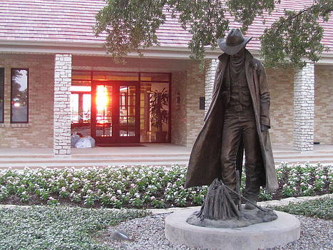The Cowboy on the Campus of Texas Christian University by Shawn Hughes