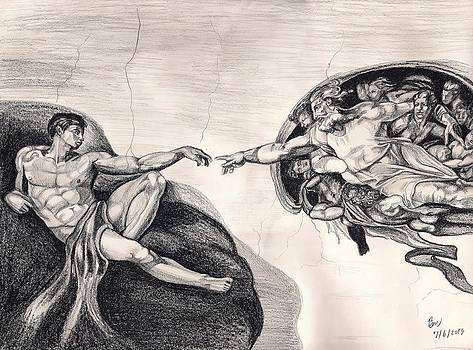 The Creation of Adam a redraw by Beverly Marshall