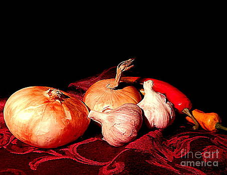 New Orleans Onions, Garlic, Red Chili Pepper Used In Creole Cooking A Still Life by Michael Hoard