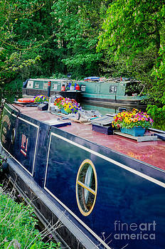 The English way - colourful canal boats at rest by David Hill