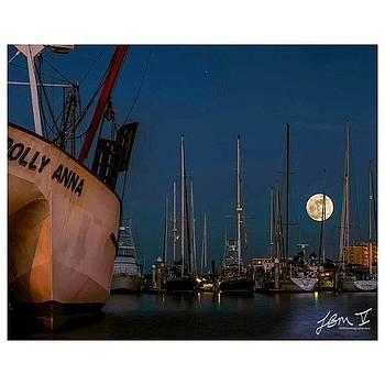 The Full Moon Rises Behind The Polly by Jb Manning