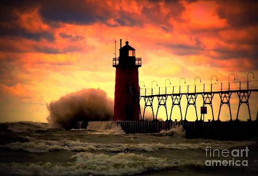The Gales Of October Skies And Waves Of South Haven Michigan Lighthouse by Jack  Martin