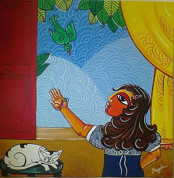 The girl and the parrot by Mangala Shenoy