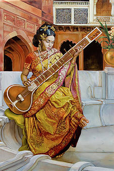 The girl with the sitar by Dominique Amendola