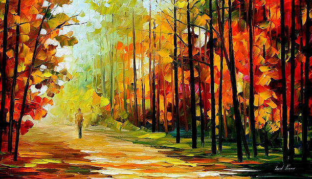 The Gold Of Nature - PALETTE KNIFE Oil Painting On Canvas By Leonid Afremov by Leonid Afremov