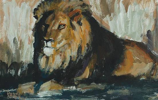 The King - Lion painting by Khairzul MG