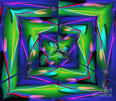 The Science Laboratory - Green and Purple Abstract by Gillian Owen