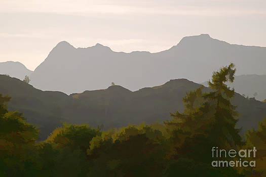 The Langdales from Tarn Hows by Tess Baxter