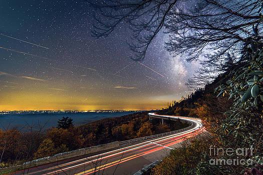 The Linn Cove Viaduct Milky Way Light Trails by Robert Loe