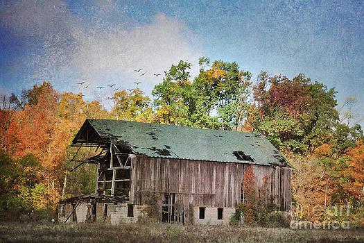 The Mack Barn in Autumn by Pamela Baker