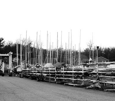 Rosemarie E Seppala - The Marina In North Muskegon Michigan Monochrome