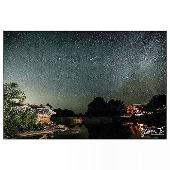 The Milky Way Over The Blanco River At by Jb Manning