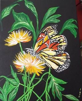 The Monarch with flowers by Iris Devadason