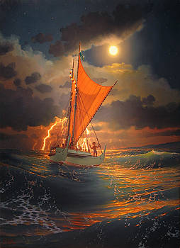 The Mo'okiha O Pi'ilani Sailing in front of the Storm in the Moonlight by Loren Adams