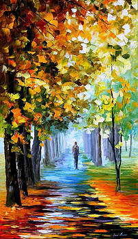 The Music Of The Fall - PALETTE KNIFE Oil Painting On Canvas By Leonid Afremov by Leonid Afremov