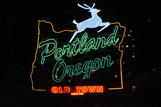 The new Portland Oregon Sign at night by DerekTXFactor Creative