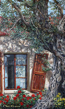 The old olive tree and the old house by Miki Karni
