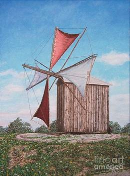 The old wood windmill by Carlos De Vasconcelos Tavares