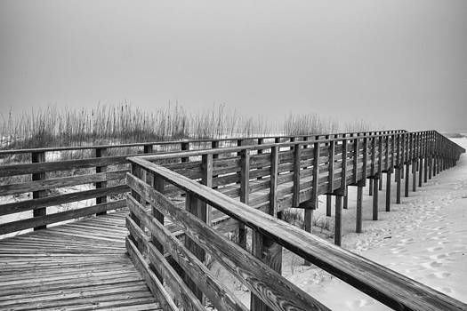 Boardwalk in Fog by Gej Jones