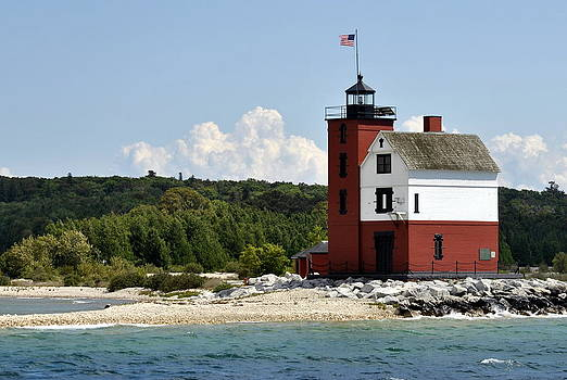 Round Island Lighthouse Mackinac The Picnic Spot by Marysue Ryan