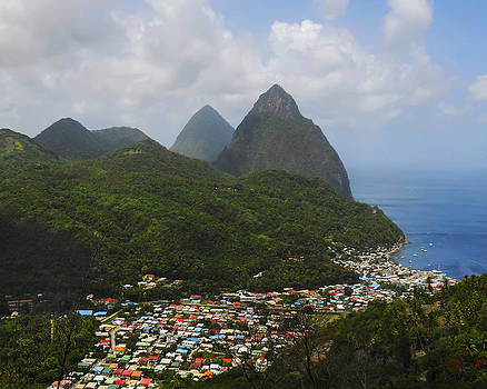 The Pitons and Soufriere by Joe Winkler