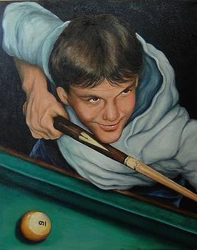The Pool Player by Pamela Humbargar