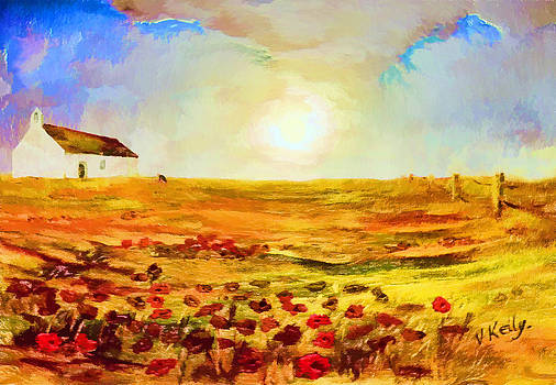 Valerie Anne Kelly - The Poppy picker-Landscape Painting By V.kelly