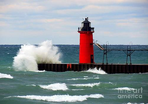 The Power Of Lake Michigan South Haven Waves Lighthouse by Jack  Martin