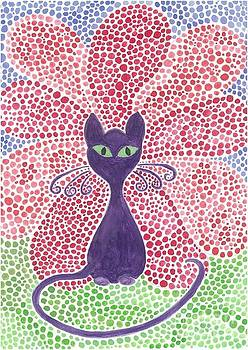 The purple cat and the exuberent red flower by Liz Rosales