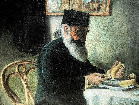 The Rabbi at breakfast by Melinda Saminski