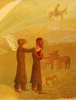 The Rabbi Leading the Angel by Israel Tsvaygenbaum