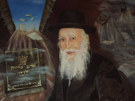 The Rabbi with his writings by Michal Schwarz