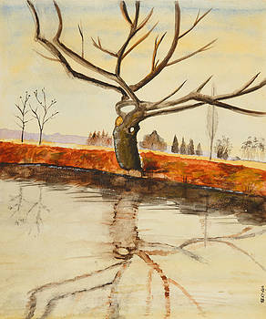 The River in Winter - painting by Veronica Rickard