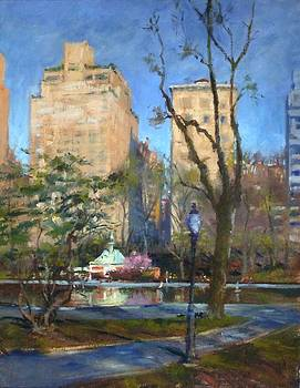 The Sailboat Pond in Central Park by Peter Salwen