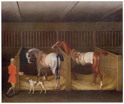 James Seymour - The Stables and Two Famous Running Horses