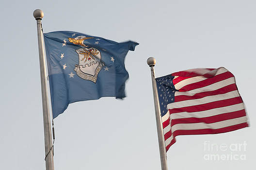 The Stars and Stripes and Air Force Flags Fly by Lauren Brice
