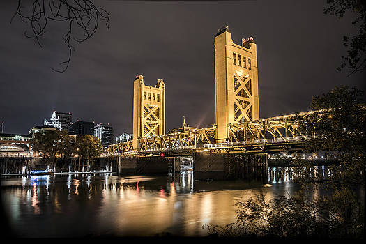 The Tower Bridge In Sacramento California by Israel Marino