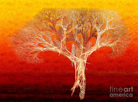 Andee Design - The Tree In Fall At Sunset - Painterly - Abstract - Fractal Art