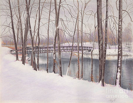 The Tulip Tree Bridge in Winter by Elizabeth Dobbs