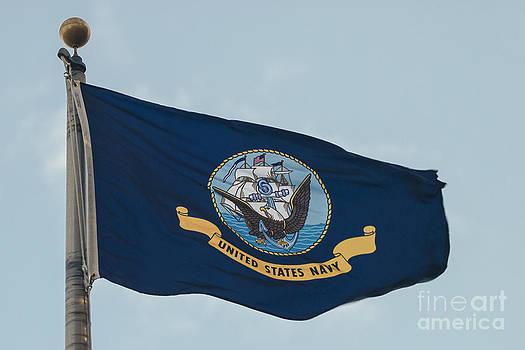 The US Navy Flag Flies by Lauren Brice
