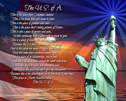 The USA Statue Of Liberty Poetry Art  by Stanley Mathis