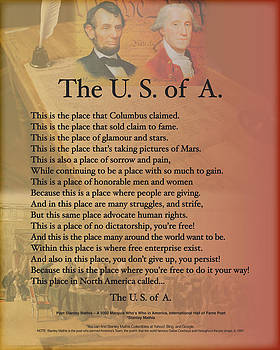 The USA Presidents Lincoln Washington Poetry Art  by Stanley Mathis