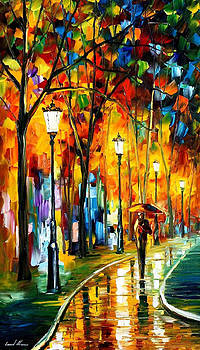 The Way To Warmth - PALETTE KNIFE Oil Painting On Canvas By Leonid Afremov by Leonid Afremov