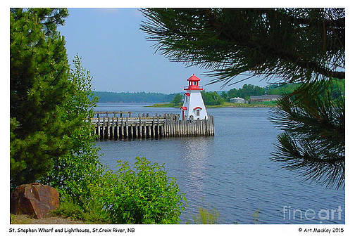 Art  MacKay - The Wharf and Lighthouse in St. Stephen NB