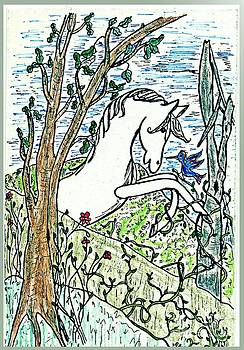 The White Stallion Is Chatting with His Friends by Patricia Keller