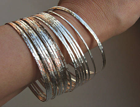 Thin Handmade Hammered Sterling Silver Stack Bangle Bracelets Artisan Jewelry by Nadina Giurgiu