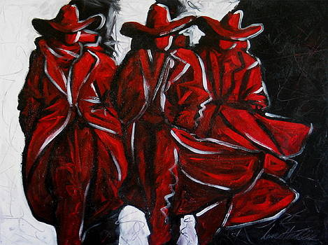 Three Abstract Cowboys by Lance Headlee