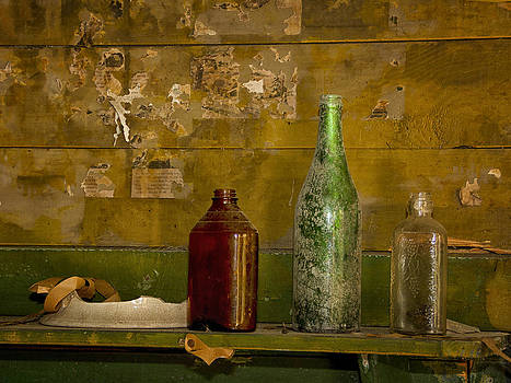 Three Bottles on a Mantel by Sandra Anderson